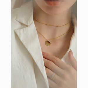 Dainty Gold Choker Disc Delicate Layered Necklace